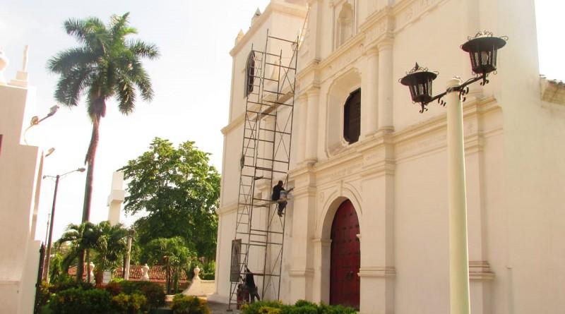 Obras de impermeabilización en el Santuario de Nuestra Señora de la Concepción en El Viejo con apoyo del gobierno locall