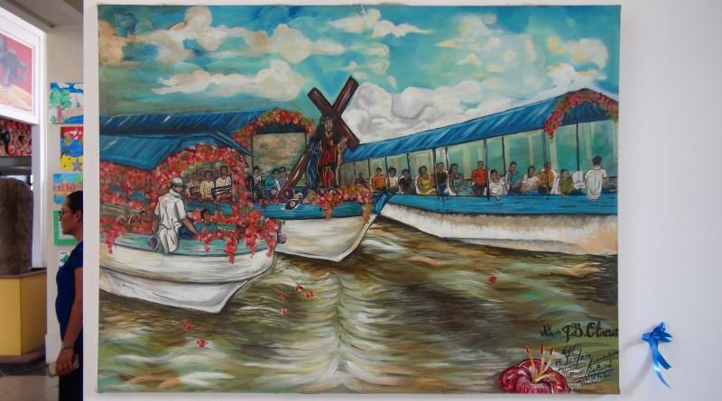 En Puebla, Rivas, Nixon Jaime Borge se inspiró en una clásica escena de Semana Santa, el vía crucis acuático, una pintura que los deliberadores premiaron por la expresividad, composición, movimiento y la gama colorida agradable.