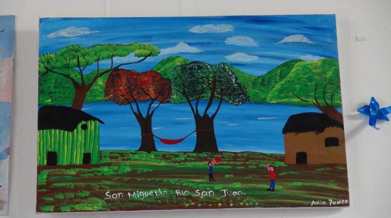 Ania Ponce de San Miguelitoplasmó la tranquilidad y la paz mediante el juego ameno y tranquilo de dos niños en la playa El Boquete. Llamó la atención del jurado la fuerza colorida que transmite la obra, volumen en sus formas, y una composición sencilla que transmite un mensaje de paz.