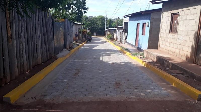 Una de las dos calles recién construidas en Totogalpa en el barrio Mauro López.
