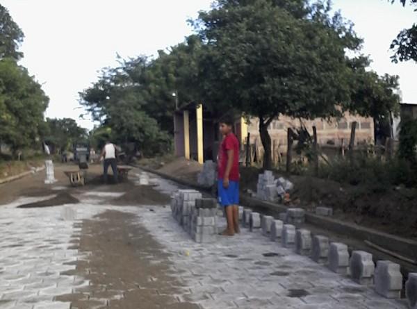 Obras en una calle de Nagarote ya concluida