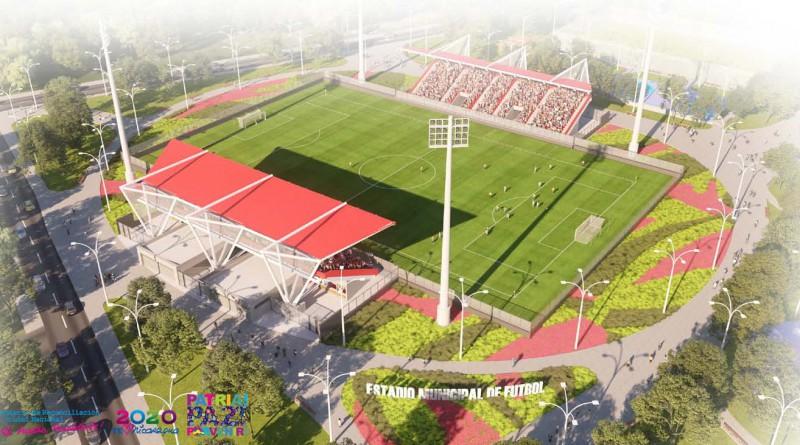 Terreno para juegos con grama natural ; sistema de iluminación, gradería con capacidad  para 3,400 personas en su I y II etapa.
