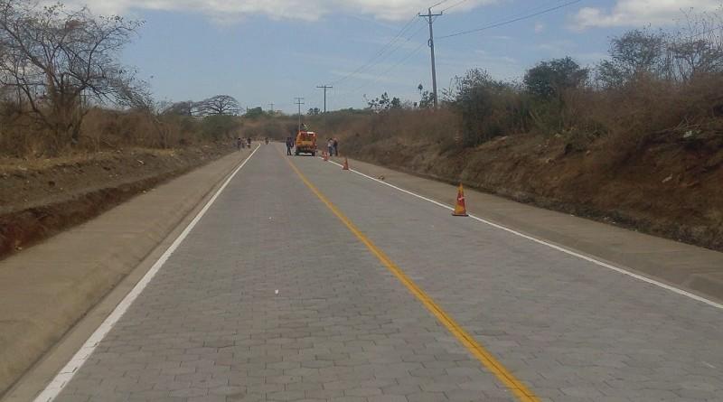 Una de las seis calles  mejoradas en  Tipitapa en el sector Solidaridad.