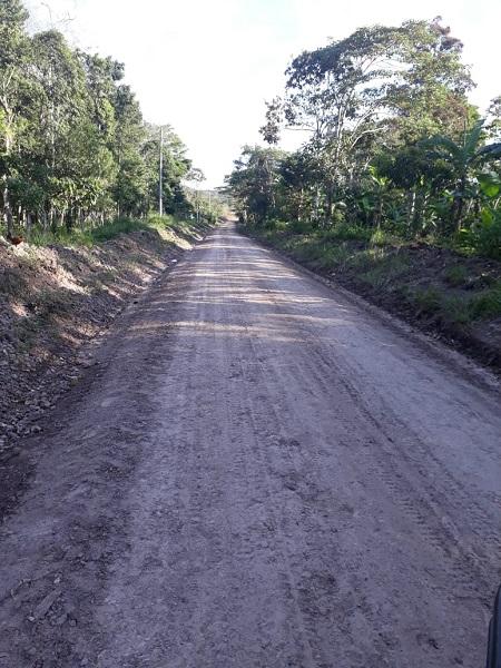 Camino hacia la comunidad La Mocuana mejorado en Jinotega