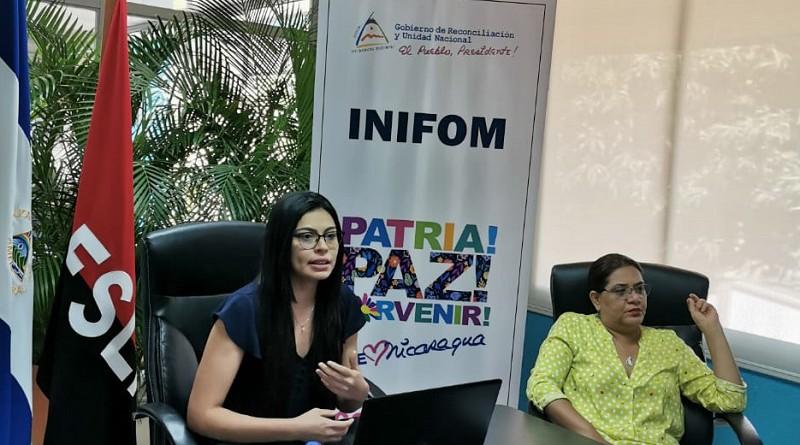 Presidenta de Inifom, Guiomar Irías y  Jessica Leiva titular del  Ministerio de la Mujer