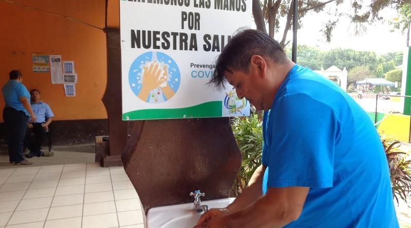 Promoviendo lavado de manos en la alcaldía de El Viejo
