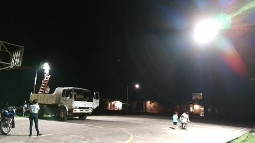 En Waslala iluminación en cancha del barrio El progreso