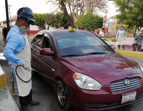 En san Jorge jornada de desinfección de taxis