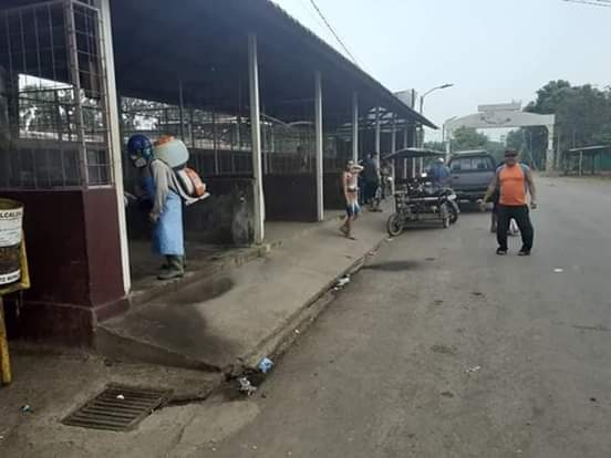 Desinfección en el mercado de Puerto Morazán