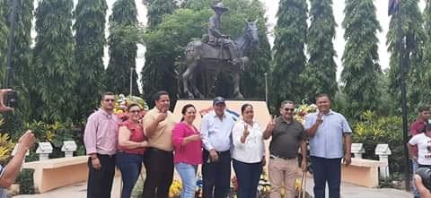 Alcaldes de Madríz y secretario político rinden homenaje al General de Hombres Libres Augusto C Sandino