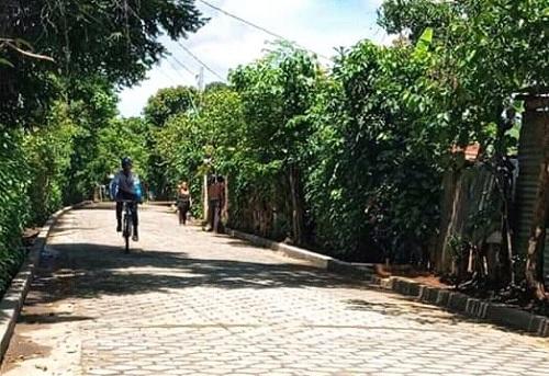 Una de las cuatro calles mejoradas en la comunidad La Curva en Niquinohomo
