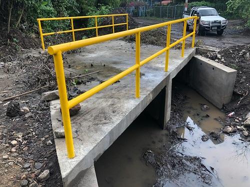 Puente vehicular  construido en en el sector Oro Verde,  Puerto Morazán