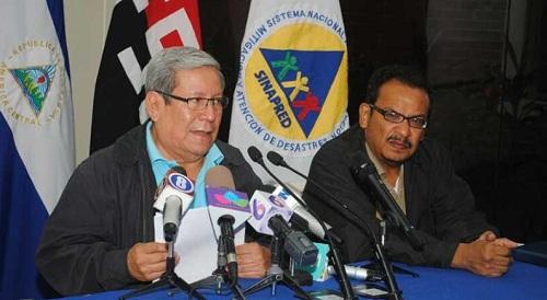 Doctor Guillermo González y Marcio Baca de Sinapred  e Ineter respectivamente