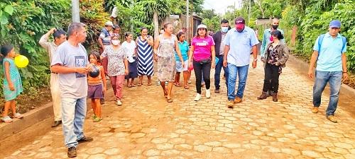 En San Marcos, el gobierno del Poder Ciudadano construyó una calle con adoquín en el barrio María Auxiliadora.