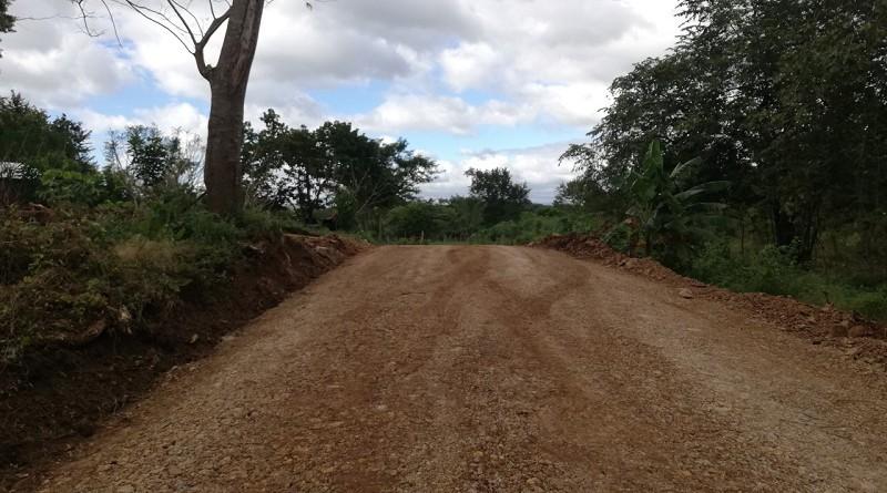 Camino rehabilitado en la comunidad Cóbano en  Juigalpa