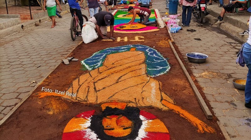 El arte en aserrín una muestra más de la devoción de Sutiava y León