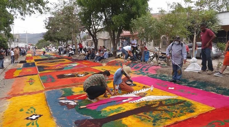 """Alfombras pasionarias en Estelí un acto de súplica a Dios: """"Que cese el Covid 19"""""""