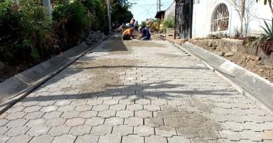 Calle adoquinada en el barrio La Bolsa de San Rafael del Sur