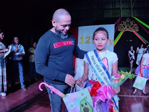 La Reina Infantil 127 aniversario es Melisa Martinez Tercero es originaria de la comunidad Los Laureles y tiene ocho años. Princesa 127 aniversarioLitzy Zashary Paiz Somarriba